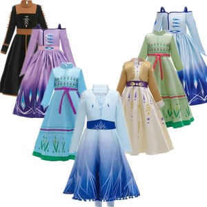 Anna Elsa 2 Girls Princess Dress Snow Queen Cosplay Party Princess Clothing Girls Dresses Chidren Cosplay Dress For Girls Gown(China)