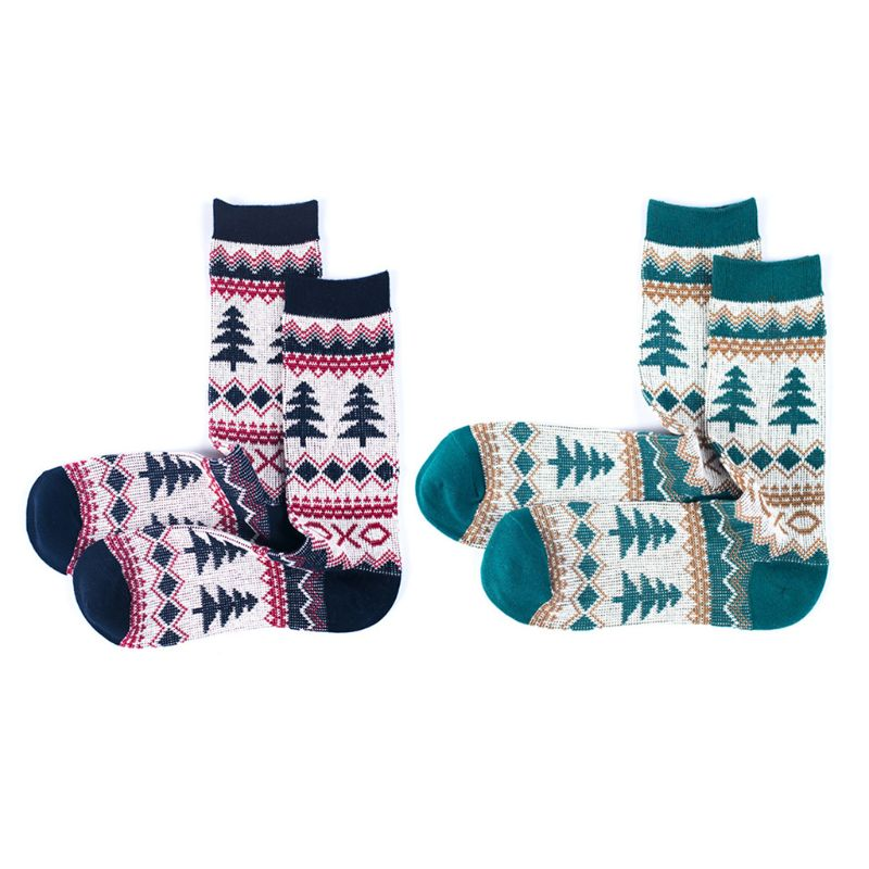 2 Pairs Japanese Men Harajuku Cotton Crew Socks Geometric Stripes Ethnic Pine Tree Print Casual Mid Calf Long Hosiery