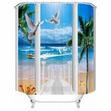 Beach beach coconut tree landscape polyester printed waterproof shower curtain bathroom partition curtain factory direct sales christmas log cabin snowmen tree printed shower curtain