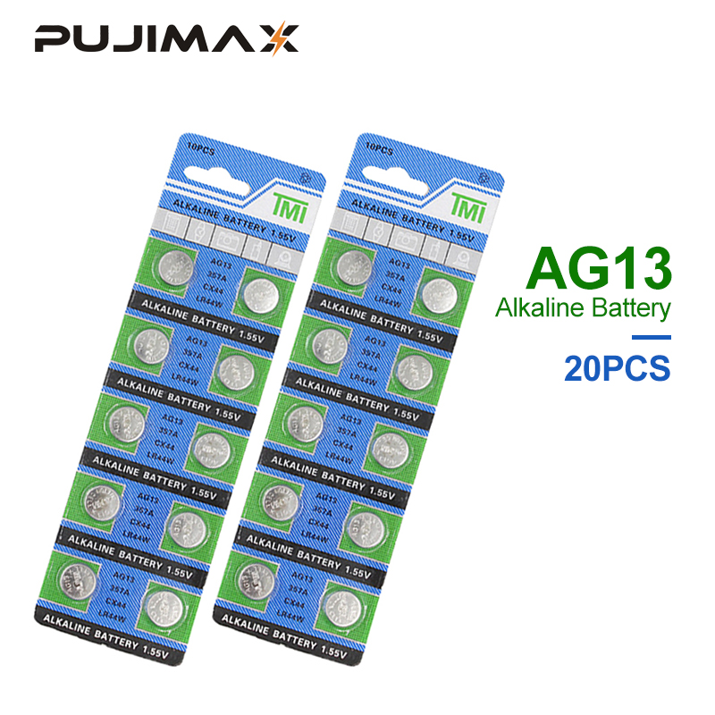 PUJIMAX AG13 Coin Cell Battery 20PCS/Lot <font><b>LR44</b></font> 357 357A S76E G13 Alkaline Button Batteries <font><b>AG</b></font> <font><b>13</b></font> 1.5V For Watch Electronic Remote image