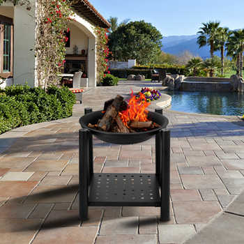 "22"" Four Feet Iron Brazier Wood Burning Fire Pit Decoration for Backyard Poolside Patio Deck with Shelf Outdoor Party Fireplace"