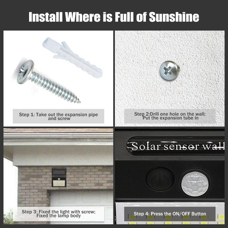 100 LED Solar Light Outdoor Solar Lamp PIR Motion Sensor Wall Light Waterproof Solar Powered Sunlight for Garden Decoration (8)