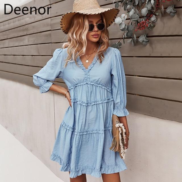Deenor Summer Chiffon Dress V Neck Sexy Women Clothing Green High-waist Flared Sleeves Boho Style Casual Dress 2021 1