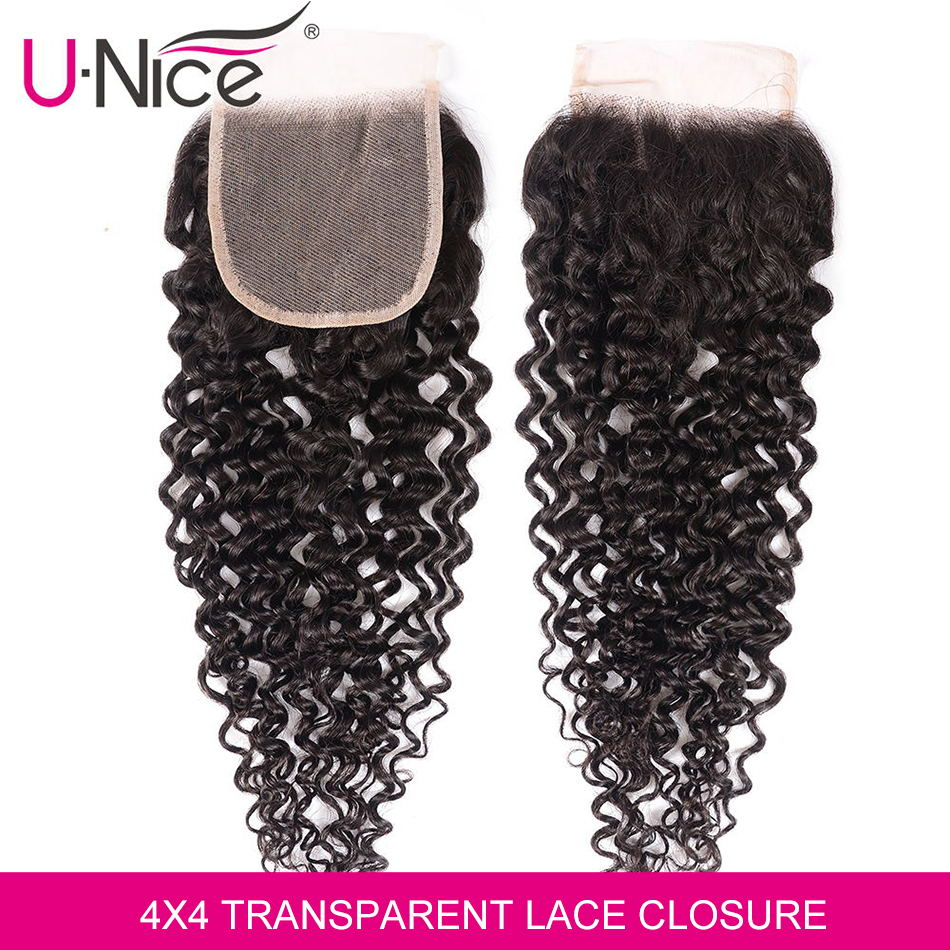 Unice Hair Transparent 4x4 Lace Closure Curly Brazilian Hair Prepluncked Closure Unprocessed Human Hair 10-20 Inch