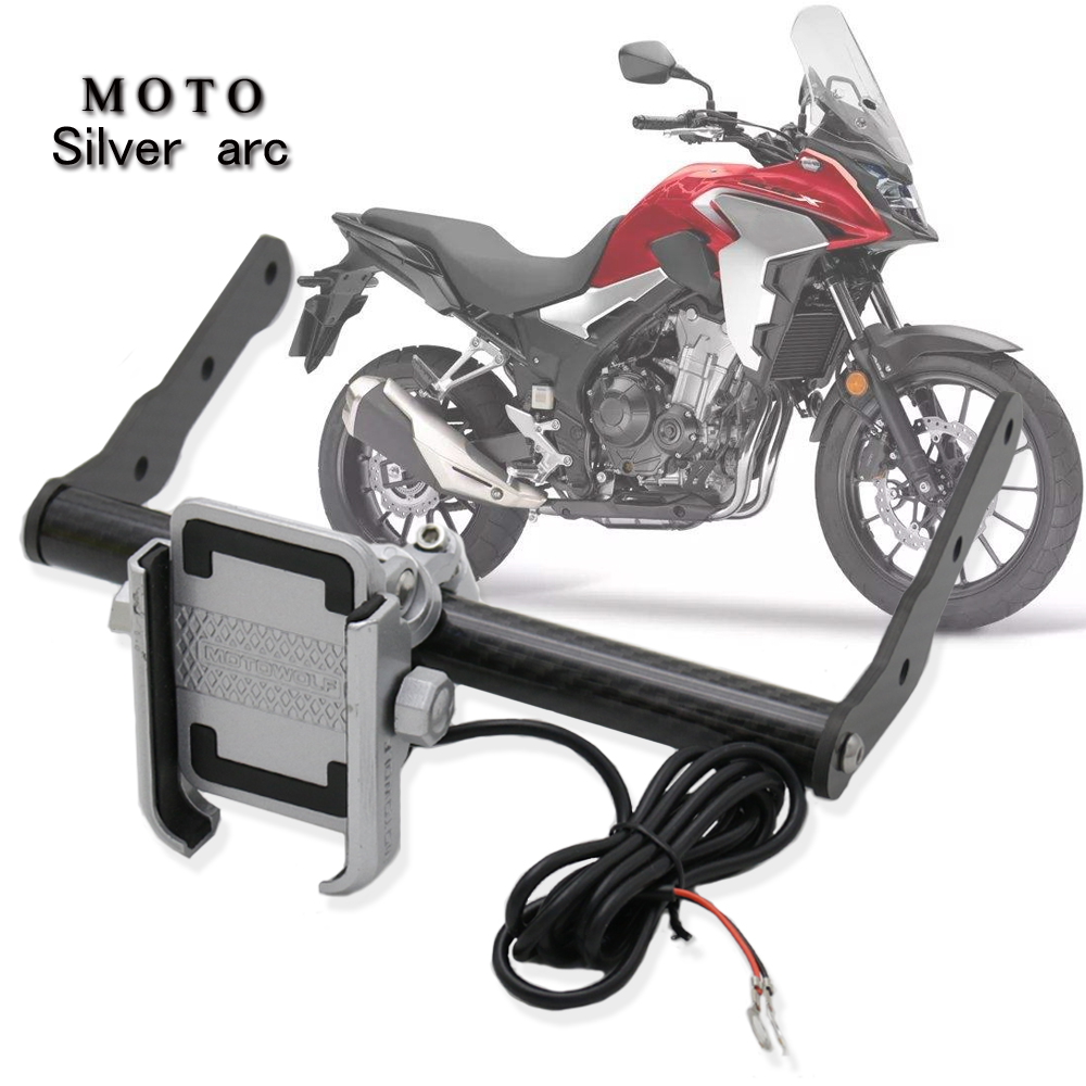 FOR <font><b>HONDA</b></font> <font><b>CB500X</b></font> 2016-2019 <font><b>2018</b></font> 2017 Motorcycle carbon fiber Stand Holder Phone Mobile Phone GPS Plate Bracket Phone Holder USB image