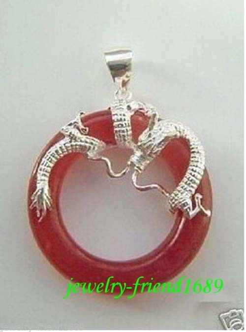 Wholesale FREE HH##HH##>Jewelry red Jade dragon Pendant necklace