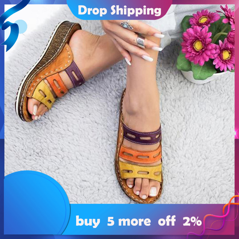 Women Low Heel Shoes Summer Open Toe Comfy Sandals Casual Wedges Non-Slip Large Size Slippers Sandalias Dropshipping