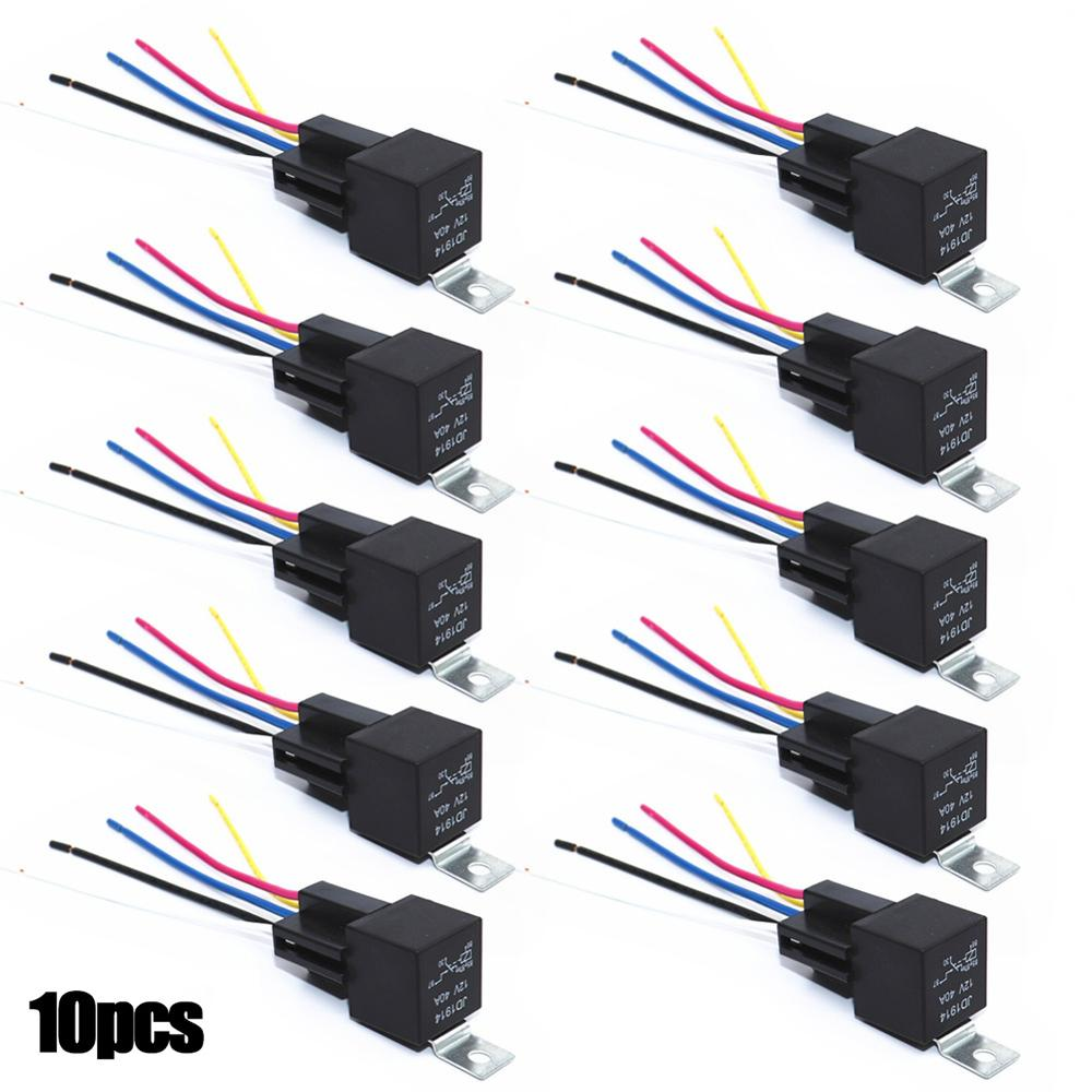 10 Pcs Automotive <font><b>Relay</b></font> With Fuse JD1914 <font><b>4</b></font> <font><b>Pin</b></font> <font><b>4</b></font> Wires / 5 <font><b>Pin</b></font> 5 Wires w / Harness <font><b>Socket</b></font> 30/40 Amp 12V Switche Accessories image