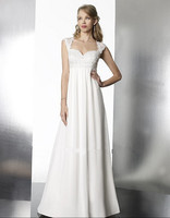 free shipping New A line baby doll chiffon gown featuring lace detailing cap sleeves keyhole back. Subtle beading wedding dress