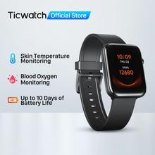 Смарт-часы Ticwatch GTH для фитнеса, мужские/женские мужские водонепроницаемые спортивные часы с отслеживанием температуры кожи, кислородом и сн...