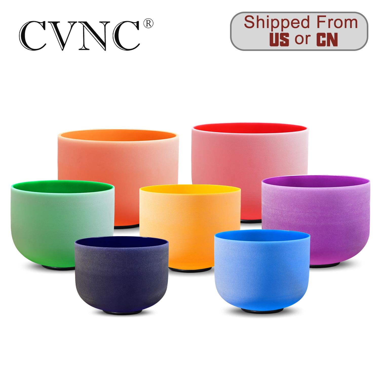 CVNC 8 Inch Third Eye Crown Root Sacral Solar Heart Throat Chakra Quartz Crystal Singing Bowl
