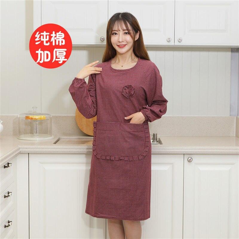 Pure Cotton Women's Kitchen Apron Long Sleeve Cooking Work Men Bib Antifouling Cute Korean-style Fashion Protective Clothing Ove