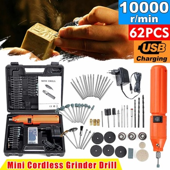 10000RPM Mini Electric Drill Engraver Machine Cordless Rotary Polishing Carving Grinder with 60pcs Drill Bits Accessories image