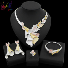 Yulaili 2019 New Dubai Gold Jewelry Sets African Crystal Tricolor Necklace Earrings Nigeria Wedding Ethiopian Bridal Accessories
