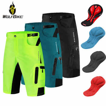 WOLFBIKE Reflective Men's MTB Bike Cycling Shorts Sports DIY Gel Pad Bicycle Downhill Riding Racing Rain Resistance Cycle Short - DISCOUNT ITEM  53% OFF All Category