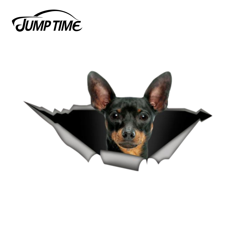 Jump Time 13cm X 6.9cm Pincher Car Decal 3D Pet Graphic Vinyl Decal Car Window Laptop Bumper Animal Car Stickers