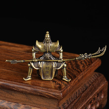 Copper Guan Gong Statue Miniature Figurines Tea Pets Table Ornaments Decorations Vintage Brass Feng Shui Home