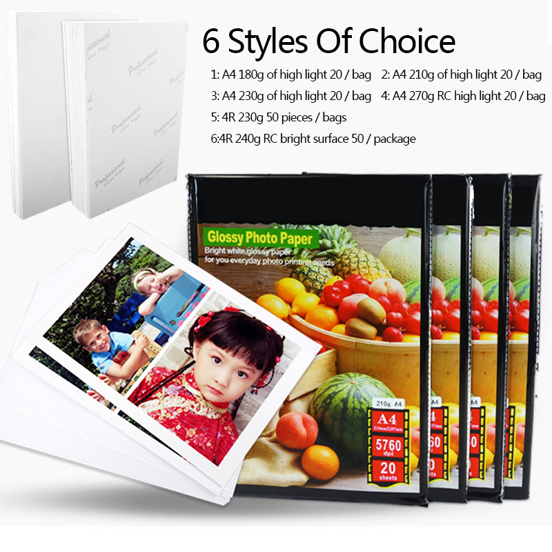 Printer Photo Paper Sticker Glossy RC Inkjet Printers Office Quick-Drying A4 4R Professional Digital Photographs Photo Sheets