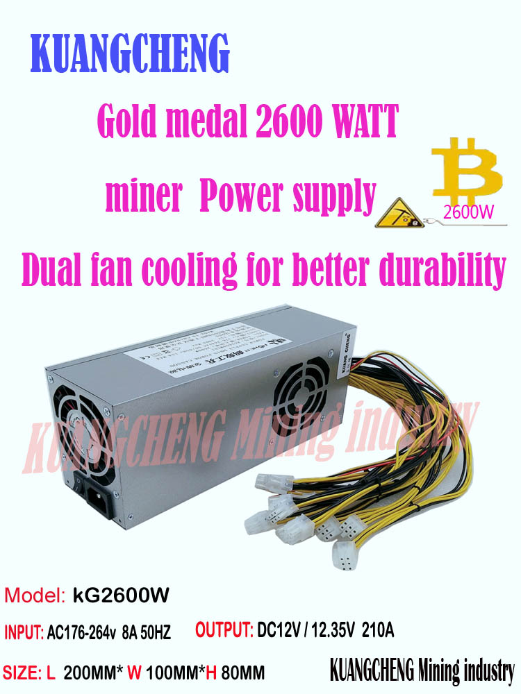 New PSU ASIC Miner BTC LTC DASH Miner PSU 2600w Supply For Antminer S7 S9k S9 K5  Se L3+ B7 Ebit E9i E9+ Z9  E10.1