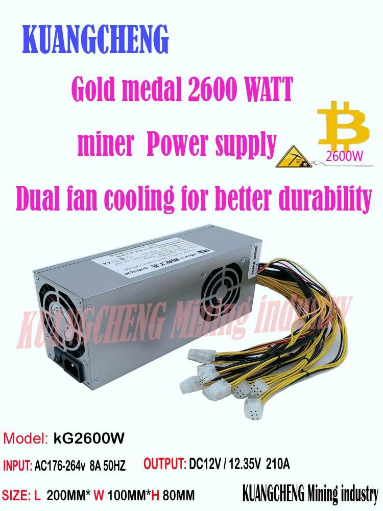 New PSU ASIC Miner BTC LTC DASH Miner PSU 2600w Supply For Antminer S7 S9k S9 K5  Se L3+ B7 Ebit E9i E9+ Z9  E10.1