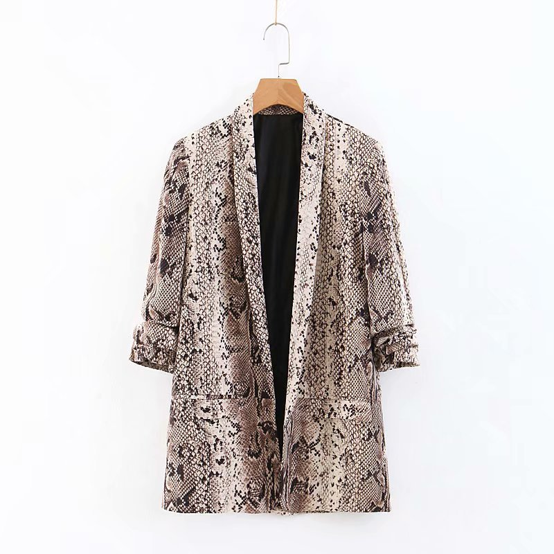 Women Chic Snake Print Blazer Animal Pattern Gathered Three Quarter Sleeve Pockets Outerwear Female Casual Tops