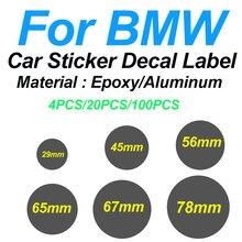 Epóxi/decoração de alumínio do carro 29mm 45mm 56mm 65mm 67mm 78mm para bmw tampa da roda de carro etiqueta etiqueta da direção decalque emblema cobre o logotipo