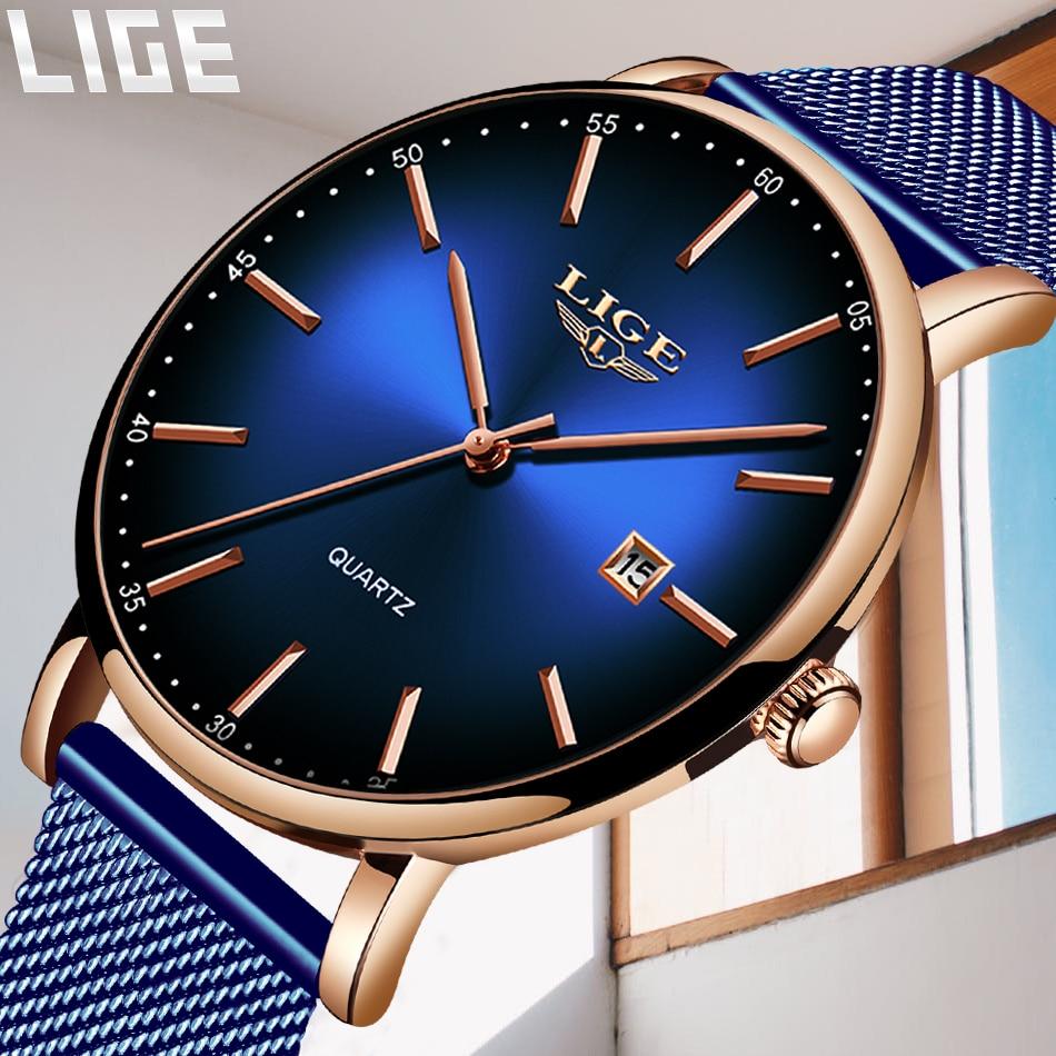 H66297ad03dfb43e8a4f72151b2dc4a6b7 LIGE Fashion Mens Watches Top Brand Luxury Blue Waterproof Watches Ultra Thin Date Simple Casual Quartz Watch Men Sports Clock
