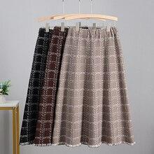 GIGOGOU Luxury Jacquard Knitted Women Midi Skirt Autumn Winter Thick Warm A Line Skirt High Waist Plaid Patern Sweater Skirts