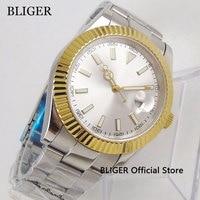 40mm No Logo Sapphire Glass Men's Watch White Dial Gold Bezel Date Magnifier Automatic Movement Wristwatch|Mechanical Watches| |  -