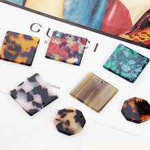 2pcs japan south korea acetate section square octagon retro earrings  material necklace pendant diy jewelry accessories