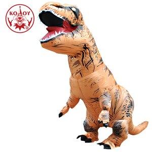 Image 1 - KOOY nadmuchiwany kostium dinozaura T REX Rider kostiumy Purim Carnival Party przebranie na karnawał kostium na Halloween dla mężczyzn kobiety dzieci