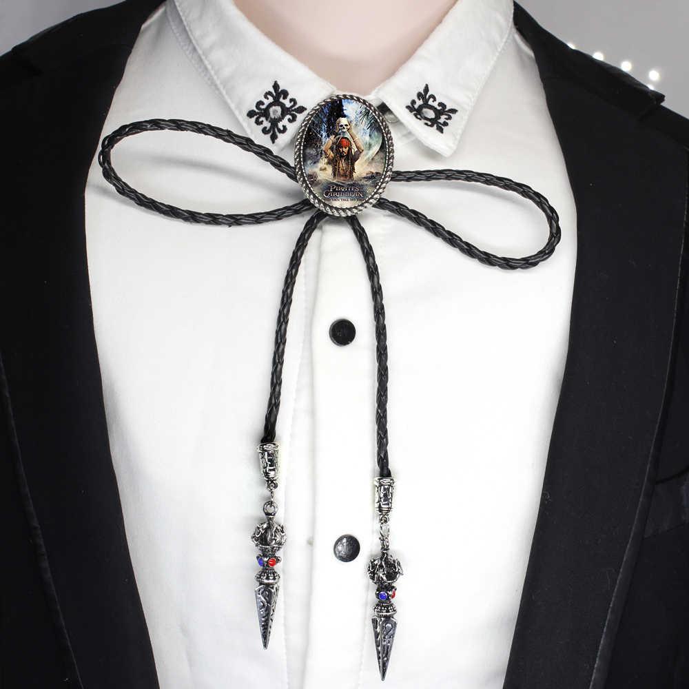 Western Bolo Tie czaszka nóż czarny Symbol Bolo Tie Handmade piraci z karaibów krawat skórzany łańcuszek naszyjnik BOLO-0020