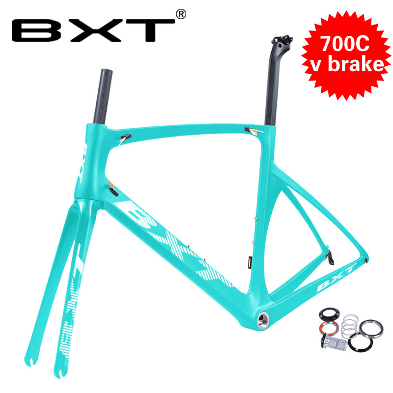 BXT T800 Carbon Road Bike Frame Cycling V Brake DI2 Mechanical Frame Carbon Frameset+Seatpost+Fork+Clamp+Headset
