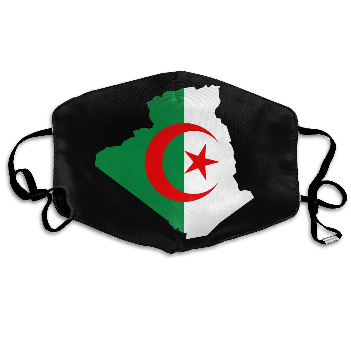 Flag Of Algeria Washable Reusable   Mask, Cotton Anti Dust Half Face Mouth Mask For Kids Teens Men Women With Adjustable Ear
