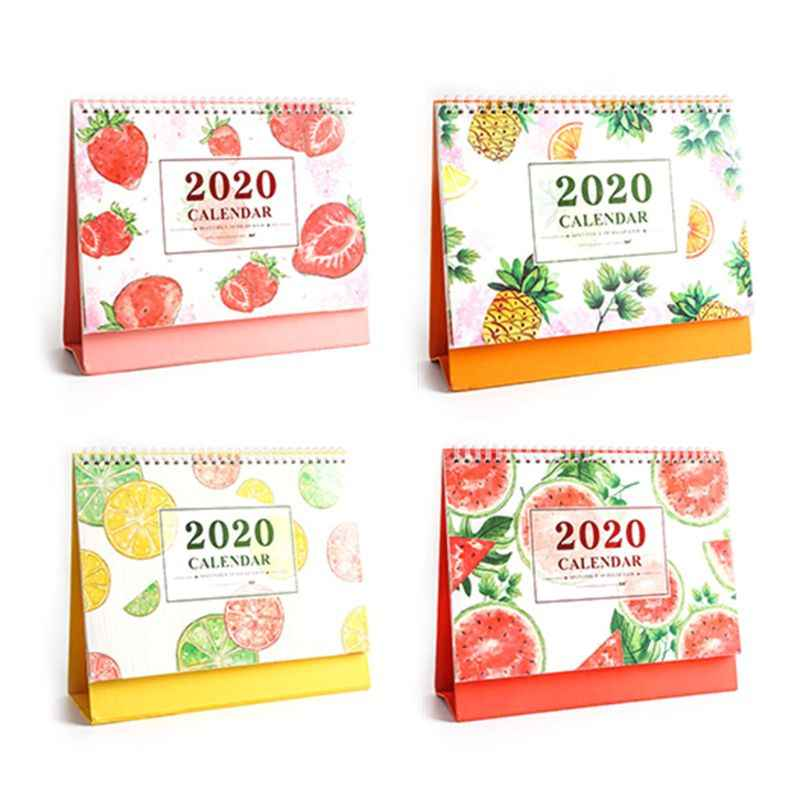 Fresh Fruit Pattern Desktop Standing Paper 2020 Double Coil Calendar Memo Daily Schedule Table Planner Yearly Agenda Organizer