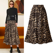 2019 New Ladies Leopard print skirts womens midi leopard skirt punk streetwear High Waist Ruffles Loose Slim Long Wrap Skirts