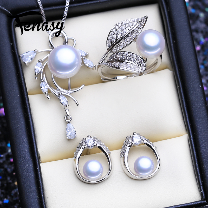 FENASY 925 Sterling Silver Jewelry Sets Natural Pearl Stud Earrings Custom Bohemian Flower Pendant Necklaces For Women Ring Set