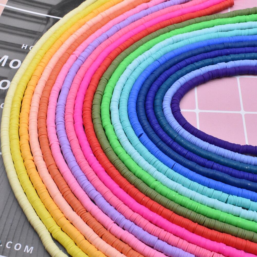 6mm 400 unids/lote DIY joyería hallazgos arcilla polimérica cuentas espaciadoras de goma cuentas para Boho joyería fabricación pulsera accesorios cuentas