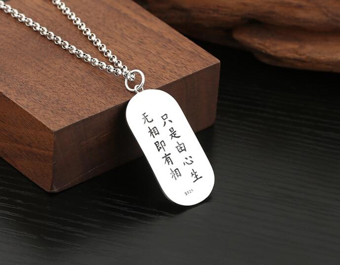 Vente directe S925 argent Sterling rétro Thai argent simple paon Mingwang étiquette volante couple pendentif sans fret - 4