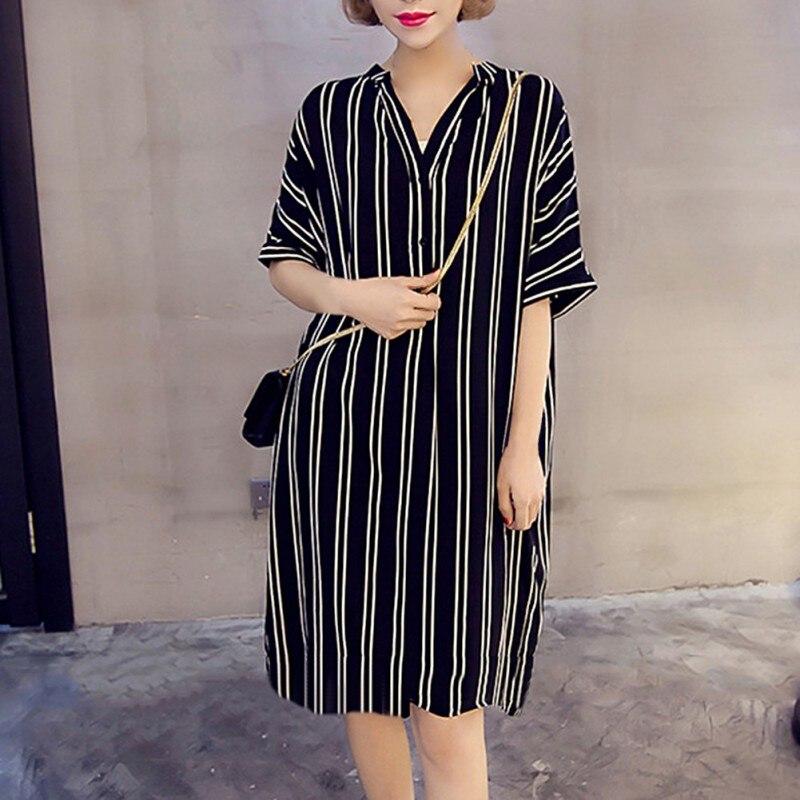 2019 Short Sleeve Print Stripe Vestidos Dress Femme Striped Women Neck Loose Fashion V
