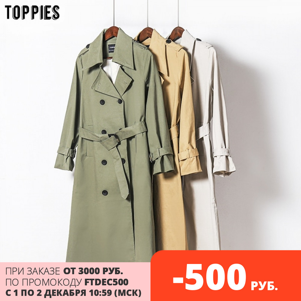 Toppies Outwear Trench-Coat Korean Women New-Arrival Double-Breasted Slim