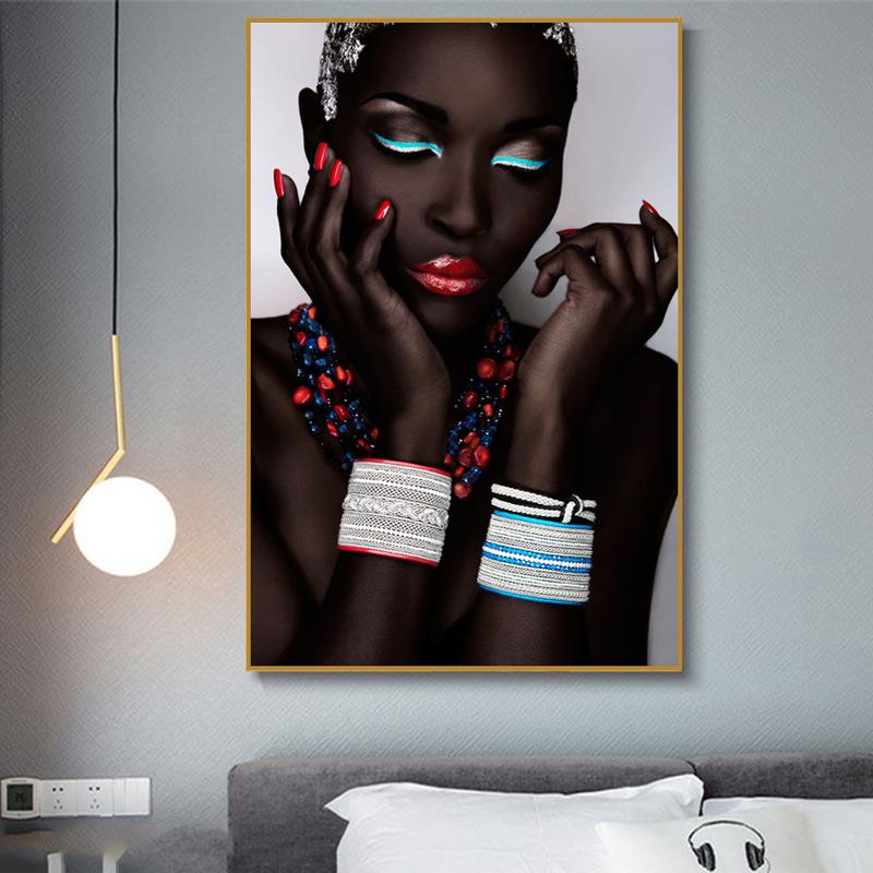 Современные черные африканские женщины губы и ногти холст картины