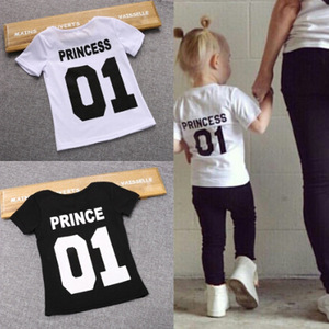 Children Funny T Shirt Boys Prince Tees Girls Princess T-shirts Kids Casual Tops White Black Number One 01 Baby Girl Clothing(China)