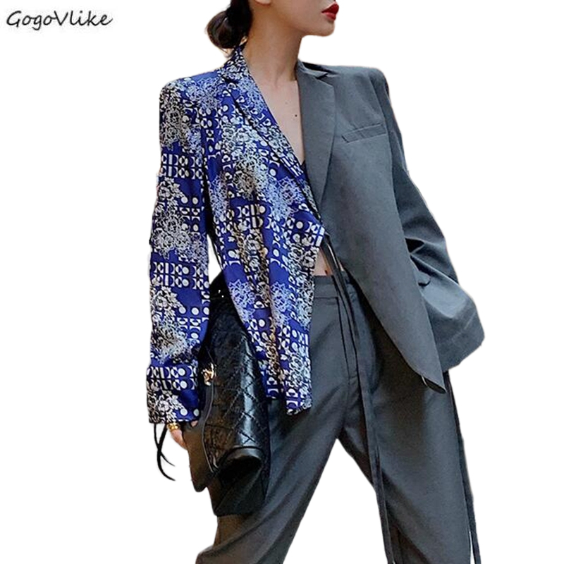 2020 Spring Flower Pattern Patchwork Hit Color Women's Blazer Pants  Female Blazers Plus Size Fashion New Clothing LT832S30