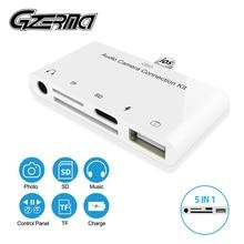 5 w 1 USB 3.0 SD karta kamery tf czytnik przejściówka do telefonu dla iPhone XR 11 8 7 Adapter z 3.5mm Jack ładowania kabel otg