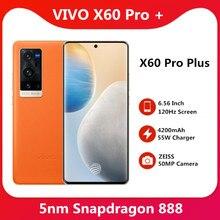VIVO originais X60 Pro Plus 5G SmartPhone Snapdragon 888 5nm Super 6.56 ''120Hz Tela Amoled Super Flash Carregador Do Telefone Móvel