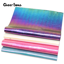 4pcs/Set A4 Laser Leather Sheets Rainbow Burst Crack Metal Faux DIY Hair Accessories Garment Decorative Materials