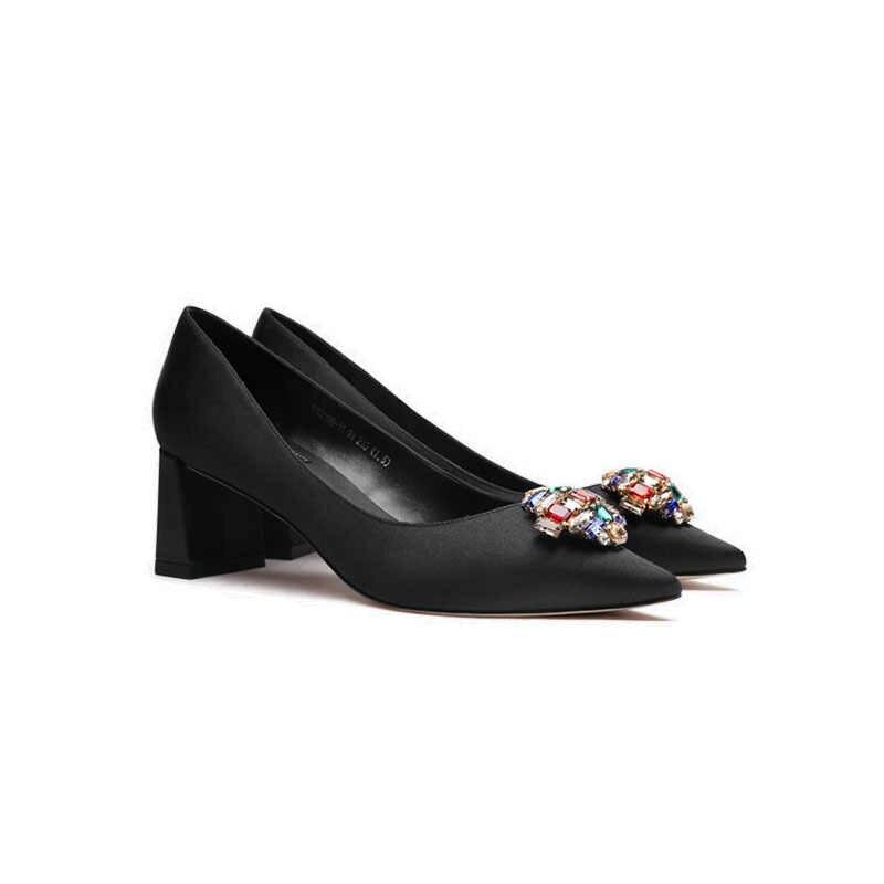 2020 neue Frauen Spitzen Zehen Silk Kleid Schuhe Leder Kristall Block High Heels OL Pumpt Schuhe Hochzeit Partei Zapatos Mujer