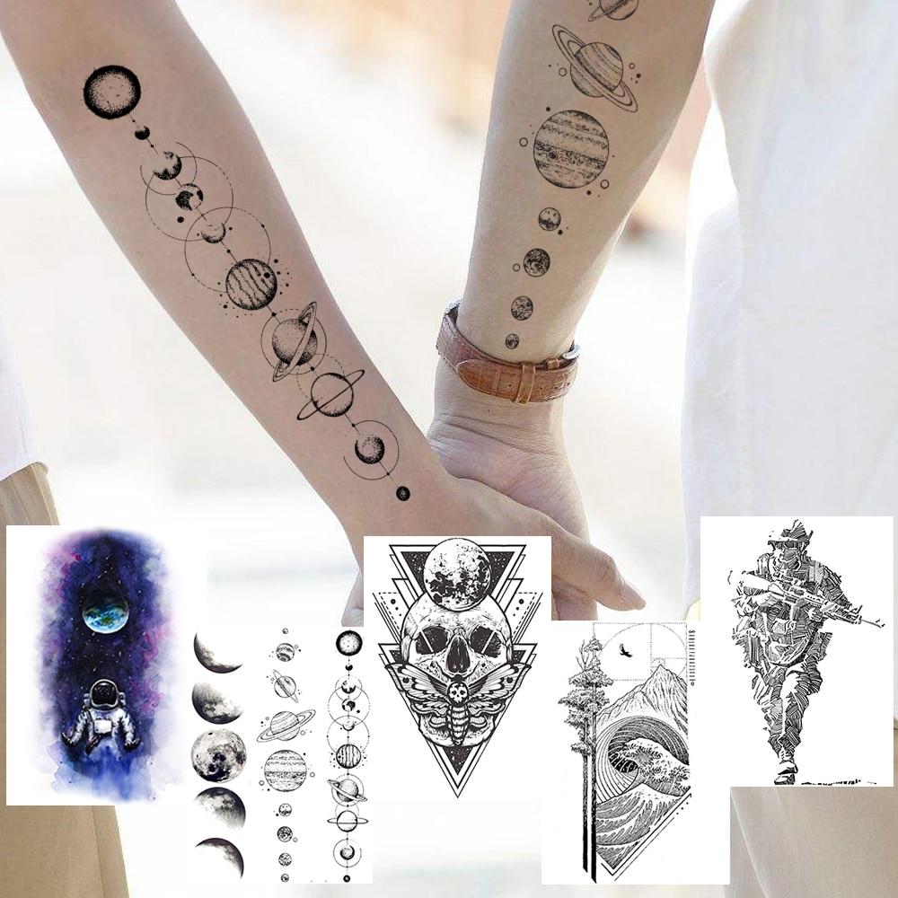 Black Planets Temporary Tattoos Sticker Realistic Fake Geometric Death Skull Tatoo DIY Waterproof Astronaut Wave Tatoo For Adult(China)