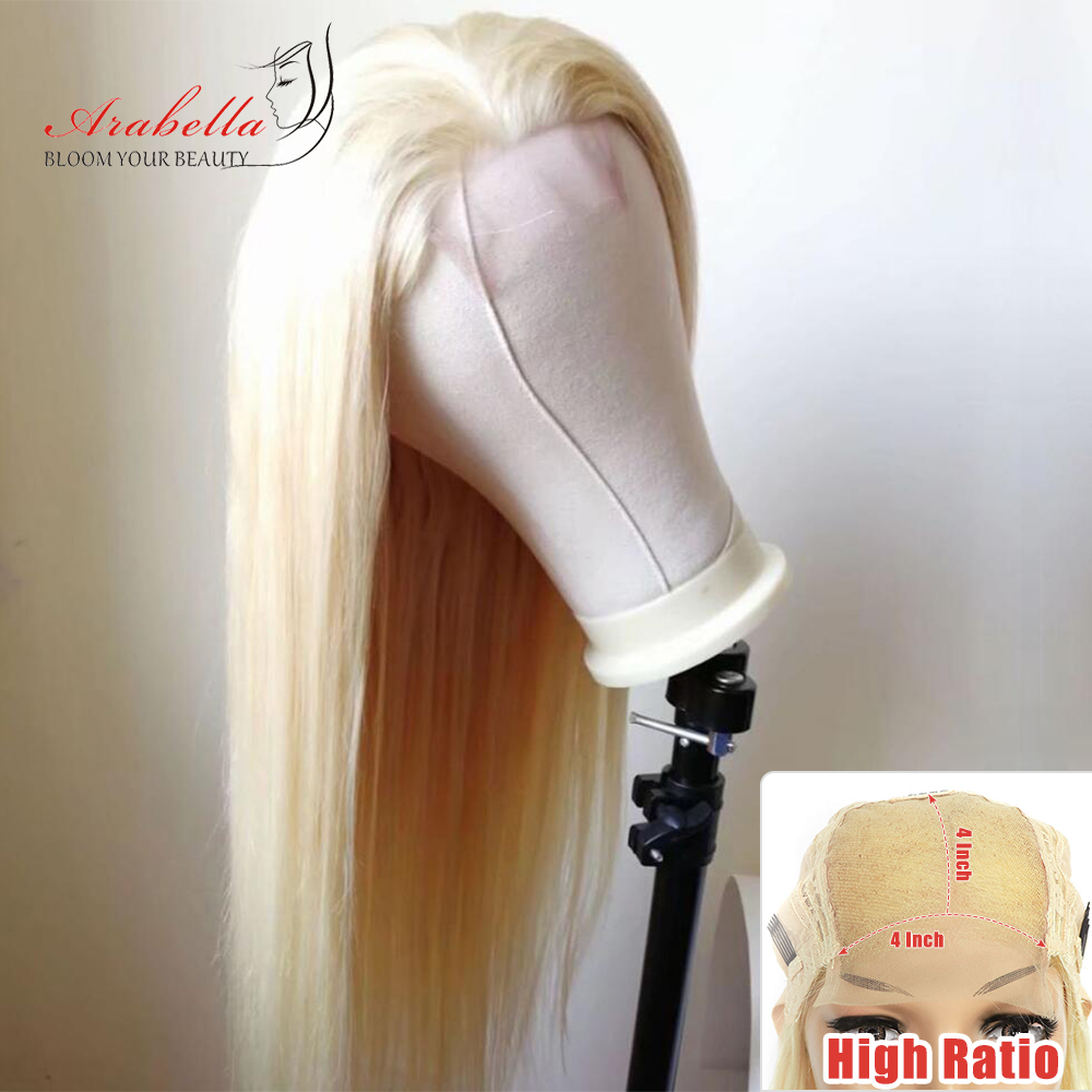 613 Wig Brazilian Straight Hair 4*4 Lace Closure Wig With Baby Hair Arabella 100% Remy Human Hair Blonde Lace Closure Wigs